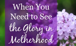 When You Need to See the Glory in Motherhood