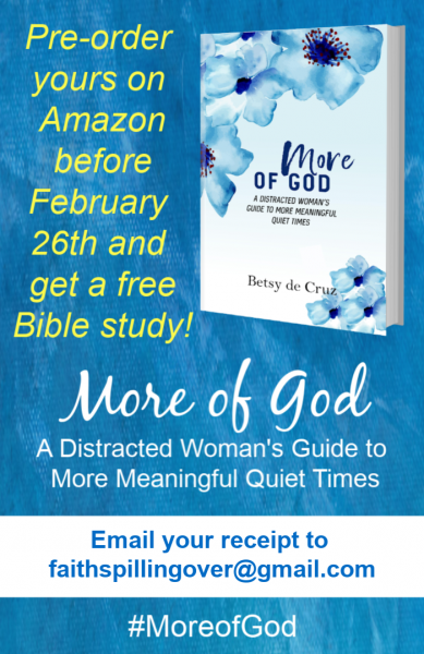 Learn to take small steps towards God and Experience More of His Power and Presence with the book More of God. Pre-order on Amazon before February 26th to get a discount and a free Bible study!