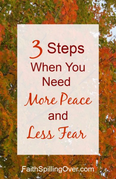 Fear less and experience more of God's peace with these 3 steps. God's Word has power to transform your anxious thoughts and give you greater #peace. #fear #worry