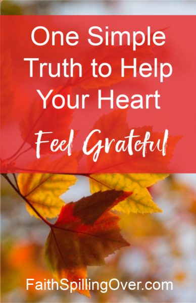 What if you don't feel grateful during this season of Thanksgiving? If struggle has zapped the gratitude out of your heart, one simple truth can help. #thanks #gratitude #love #Thanksgiving